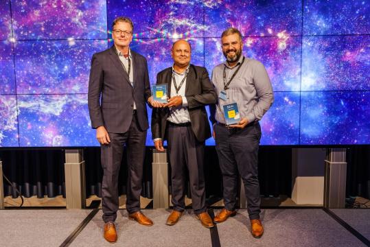From left to right: Harry Minnema (Rijkswaterstaat), Steven Abdoelkhan (Rijkswaterstaat) and Spyros Bethanis (Eurobank)