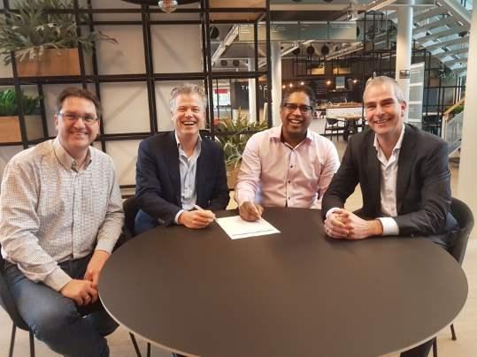 Van links naar rechts: Edward de Wit, Roger Beckand Verwée, Randy Drielinger en Kim de Boer